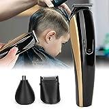 Cortadora de pelo 3 en 1 con 4 peines guía utilizados para afeitar la barba/cortar el pelo/recortar el pelo de la nariz, cortadora de pelo eléctrica con cabezal flotante de 360 grados para corte