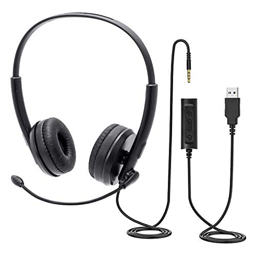 PC Chat Headset,kabelgebundenes Headset,USB/ 3,5-mm Phone-Headset mit Mikrofon,Noise Cancelling & Lautstärkeregler,für Skype, Webinar, Homeoffice, Gaming, e-Learning und Musik, Ultra Komfort