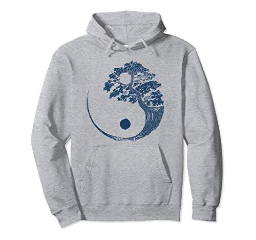 Árbol Bonsái Azul Yin Yang Regalo Zen Budista Japonés Sudadera con Capucha