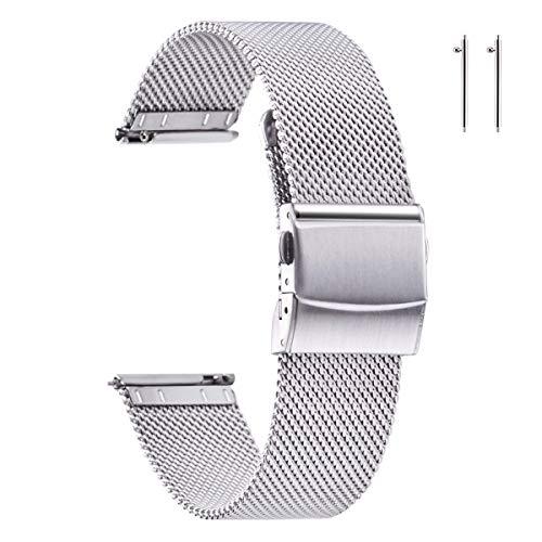 EACHE Correas de Reloj de Malla de Acero Inoxidable Plateado de 18 mm para Mujeres Hombres Correas de Reloj de Malla Ajustables de liberación rápida