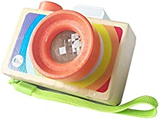 Wooden Mini Camera Toy with Multi-Prisms Kaleidoscope for Toddlers and Kids