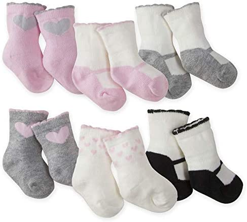 Gerber Baby Girls 6 Pair Wiggle Proof Sock Bunny Love 0 3 Months product image