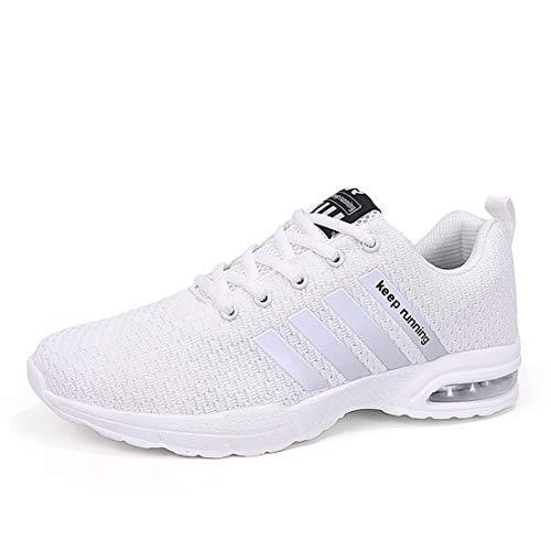 Joytoo Zapatillas de deporte para hombre, para correr, caminar, gimnasio, fitness, casuales, ligeras, para regalos, talla 38-40, color Blanco, talla 44 EU