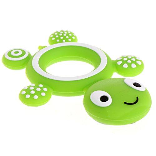Lyguy Mordedor para bebé, diseño de tortuga de seguridad, silicona apta para alimentos, color verde