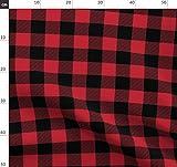 Schottenkaro Rot Und Schwarz, Decke Mit Büffeln, Karo,