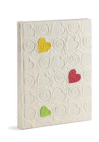 Mareli fotoalbum, 20 x 25, 60 pagina's met pergament, wit papieren omslag met reliëfapplicaties, hart