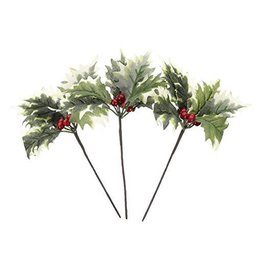 TomaiBaby 3 Piezas Púas de Navidad Artificiales Mini Tallos de Bayas de Acebo Agujas de Hojas de Simulación de Spray de Árbol de Navidad para Arreglo Floral de Guirnalda de Navidad DIY