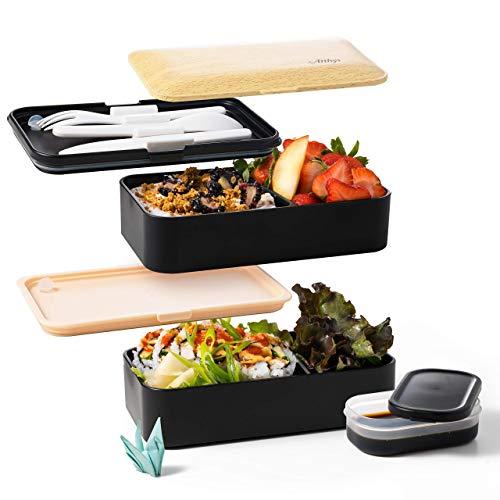 Atthys® - Lunch Box Bambou/Noir | Bento Japonais Design 3 Couverts Offerts | Bento Box 2 Compartiments Hermétiques 1200 ML | Micro-Ondes Lave-Vaisselle | Boîte Déjeuner Bois Adulte ou Enfant