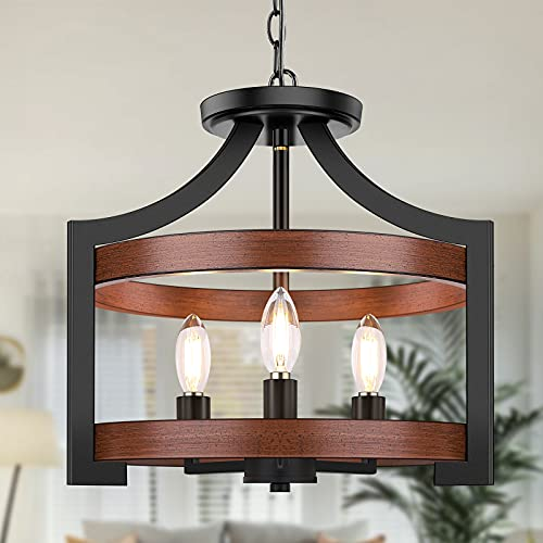 3-Light Rustic Farmhouse Pendant Hanging Light Adjustable Height Max 68in, Convertible Vintage Semi Flush Mount Ceiling Light Fixture Black Metal Chandelier Walnut Wood Finish for Kitchen Dining Room
