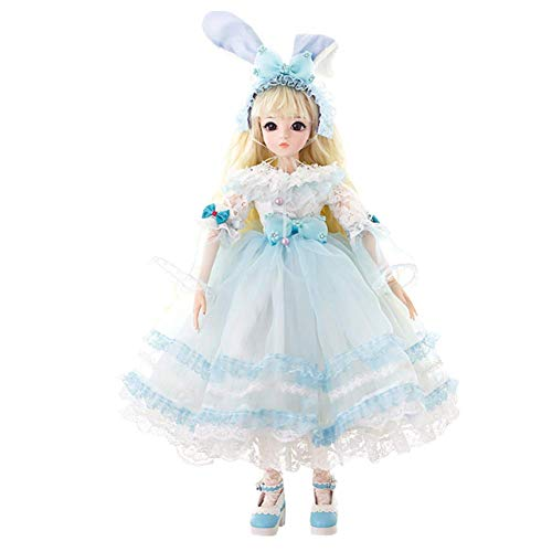 LUSHUN Muñeca BJD Pelo Largo Lolita Doll SD Doll 1/3 Muñeca Articulada Ball con Dress Makeup Accessory Peluca Disponible en Tres Estilos Toy DIY,B