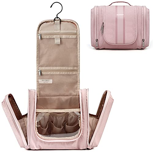 Hanging Toiletry Bag, BAGSMART Travel Toiletry Organizer with hanging hook, Water-resistant Cosmetic Makeup Bag Travel Organizer for Shampoo, Full Sized Container, Toiletries, Pink