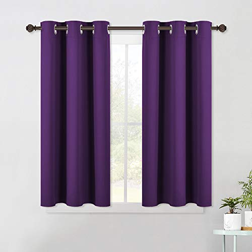 NICETOWN Thermal Insulated Blackout Draperies Curtains, Triple Weave Home Decoration Solid Ring Top Blackout Drape Panels for Bedroom (Set of 2, 42 x 45 Inch, Royal Purple)