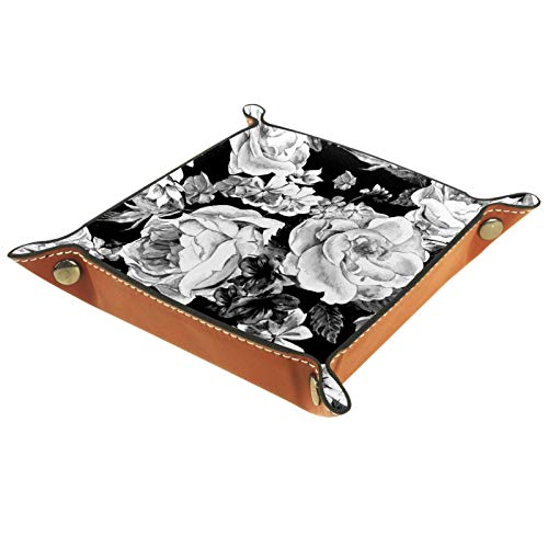Organizador de almacenamiento de escritorio de cuero sintético, monedero, monedero, monedero, llavero con diseño floral, monocromático vintage