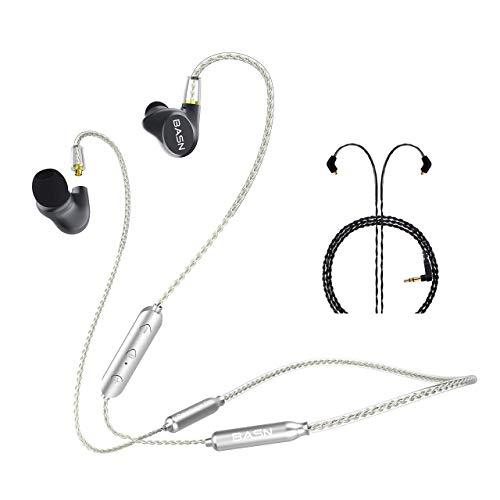 BASN Active Noise Canceling IEM Headphones Bluetooth Headphones Deep Bass Wireless Headphones with MMCX Connector for Workout, Running, Gym (Metalen PRO Gray)