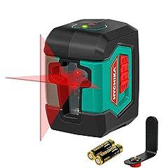 Laser cross line 15M, laser samopoziomowy HYCHIKA z podwójnym modułem laserowym 360 ° Przełączany poziomo/pionowy z uchwytem, torbą ochronną i baterią AA 2 x