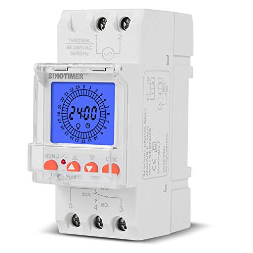 HehiFRlark Interruptor de Tiempo analógico Digital de 24 Horas Intervalo de 15 Minutos con 96 Encendido/Apagado Cada día Blanco 30A TM929BKL