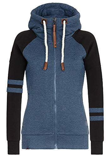 Hiistandd Damen Hoodies Sweatshirt Winter Warm Hoodie Zip Up Fleece Hooded Zipper Hoodie Outerwear Jacke Mantel Langarm Pullover Lange Tops Kapuzenpullover Gr. M, H Blau