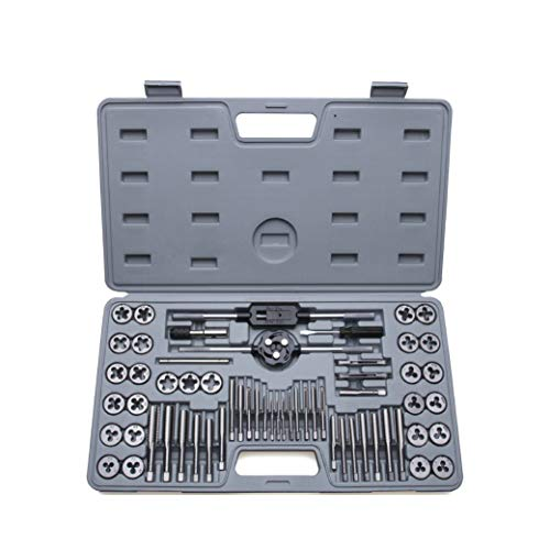 SharCreatives 60 Piece Metric & SAE Threading Tap & Die Tool Set Coarse and Fine Threads for Threading and Re-threading with Accessories and Storage Case