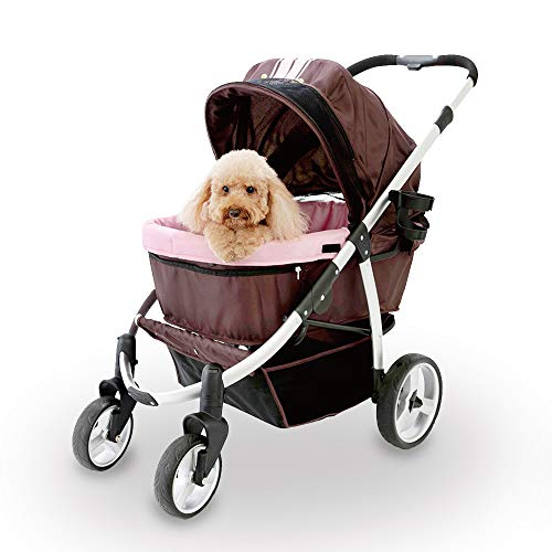 Double Dog Stroller for large dogs up to 77 Ibs, Aluminum Frame, 4-wheel with suspension