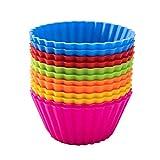 jemous Moldes de Silicona para Magdalenas, Reutilizables, antiadherentes, Colores arcoíris, contenedor de Almacenamiento para Pasteles