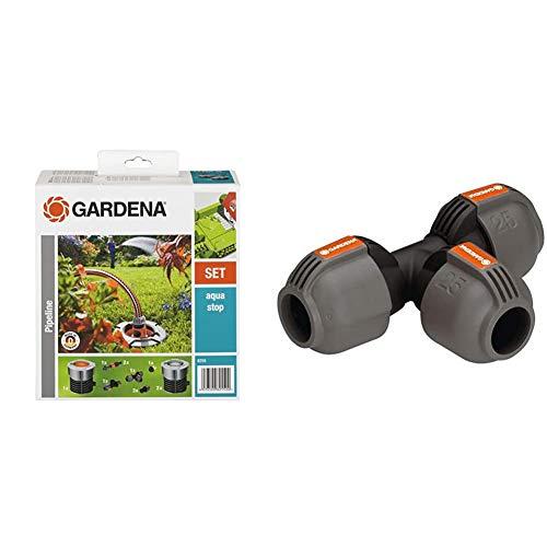 Gardena Start-Set für Garten-Pipeline: Wassersteckdosen & Sprinklersystem T-Stück: Rohrverbinder für Rohrabzweigung des Verlegerohrs, 25 mm, kompatibel mit Gardena Verlegerohre 25 mm
