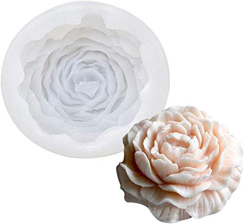 DUBENS 3D Rose Blume Kerze Formen, Rose Geformt Handwerk Kunst Silikon Form für Fondant Kuchen Dekoration, Der Bienenwachs Kerze Handgemachte Seife Lotion Bar Kreide Wachs Gips (Pfingstrose)