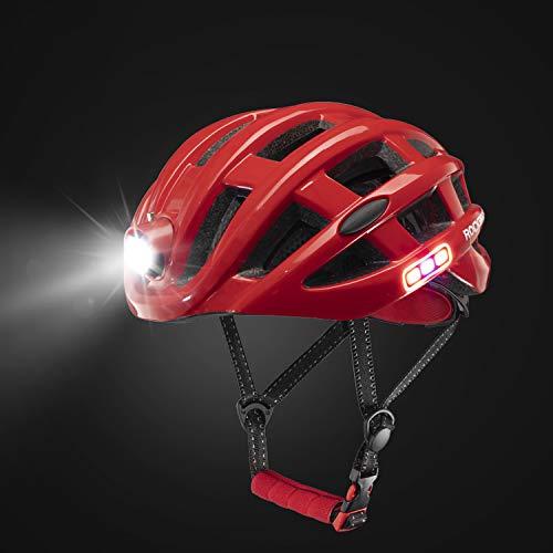 RAYTHEONER Fahrradhelm, MTB/Mountainbike/Bike/Scooter atmungsaktiver Helm, Multifunktions Sicherheitsverstellbarer Scheinwerfer Dreiseitige Sicherheitswarnleuchte Universal Herren Damen Kinder (Rot)