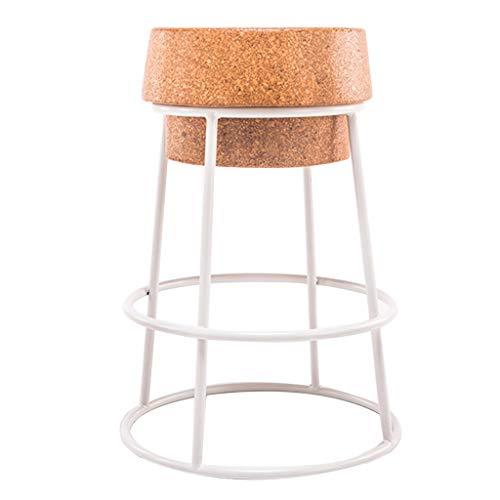Taburetes altos de cocina Creativo Silla de bar de hierro forjado Asiento de corcho redondo Simple y moderno Mostrador de desayuno Mostrador de café Taburete alto Soporte de metal resistente (Altu