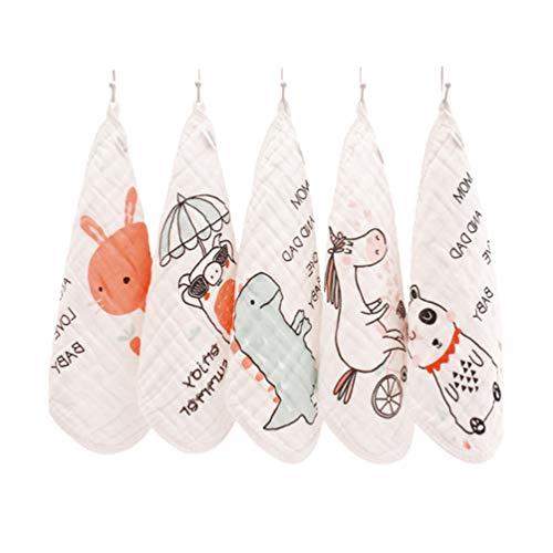 ARTIBETTER 5 Piezas Baberos de Algodón para Bebés Toalla de Saliva con Estampado de Animales Pañuelo para Niños Gasa Toalla para Lavar La Cara para Bebés Y...