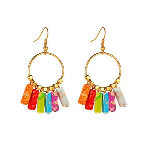 Ruby569y Pendientes de aleación de siete chakras de color Bohemia, pendientes de lazo de oreja, elegantes pendientes de gancho de forma personalizada, joyería de día festivo para niñas y mujeres