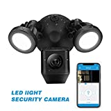 Panoraxy Floodlight Camera Motion-Activated HD Outdoor Security Light Cam, 140 Degree Wide View Angle, 3 PIR Covers 270 Degree, Customized Motion Area, Two-Way Talk, Siren Alarm,Free iOS& Andorid App