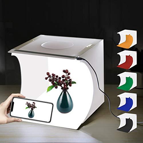 Mini Photo Studio Box, PULUZ 20cm Portable Photography Shooting Light Tent Kit, White Folding Lighting Softbox with 20 LED Lights + 6 Backdrops for Product Display