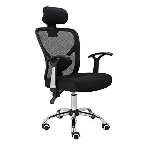 HOMEFUN Ergonomic Mesh Office Chair, Adjustable Computer Desk Chair with Headrest Comfortable Backrest Task Chair Swivel Rolling Chair, Black
