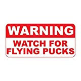 YFULL Tin Metal Sign Warning Watch for Flying Pucks Tin Sign- 8 in X 12 in