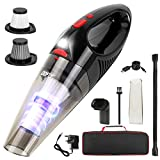 DOFLY 8500PA Handheld Vacuum Cleaner, 120W Cordless Handheld Vacuums, Rechargeable Hand Vac with LED Light, Lightweight Wet Dry Vacuum for Home/Pet/Car Black&Red