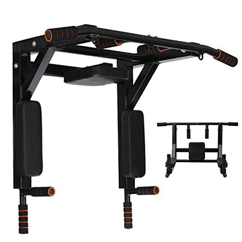 Montado Multifuncional Montado En La Pared Pull Up Bar Home Gym Fitness Chinning Hierro Soporte para El Hogar Gimnasio Multifuncional Fuerza Formación Fitness Equipos De Aptitud(Color:Negro)