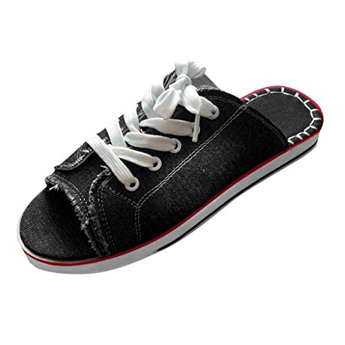 Fashion Denim Lace Up Open Toe Flat Sandals for Women Summer Casual Comfy Canvas Slip-on Sandals Walking Shoes