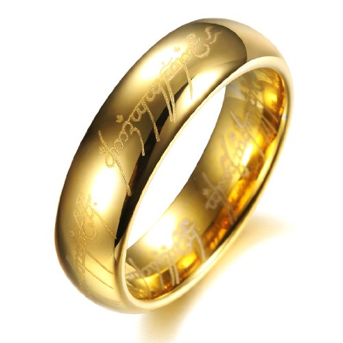 COPAUL Pure Tungsten Carbide 18K Gold Plated Lord of The Rings with Bible Engaved Couple Ring Wedding Band, Men, Size Z+1