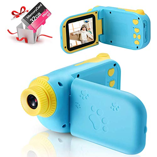 ishantech Kids Digital Video Camera Toys for 3-10 Years Old Girls 1080P 2.4 inch IPS Screen Camera for Age 3 4 5 6 7 8 9 Yeas Old Toddler Kids Girls Best Birthday Gift Toys with 32G SD Card (Blue1)