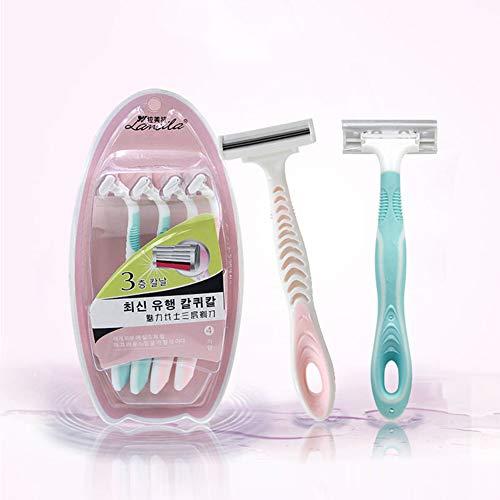 PanDaDa 3PC Rasoirs manuels tondeuse pour Femme,Couteau de rasage pour femmes avec 3 lames superposées Pour Aisselle Mains Jambes Cheveux