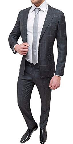 Abito Completo Uomo Sartoriale Grigio Scuro Quadri Smoking Vestito Elegante Cerimonia (54)