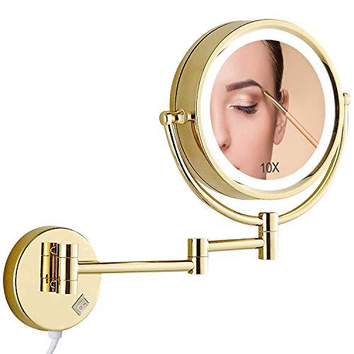 SGSG 10x Vergrößerungs-Wand-Make-up-Spiegel, Make-up-Spiegel mit LED-Beleuchtung, runder Badezimmer-Make-up-Spiegel, 360-Grad-Drehung Perfekt für Schlafzimmer-Schminktisch oder Badezimmer-Waschtisch