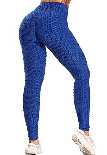 FITTOO Leggings Push Up Mujer Mallas Pantalones Deportivos Alta Cintura Elásticos Yoga FitnessAzulL