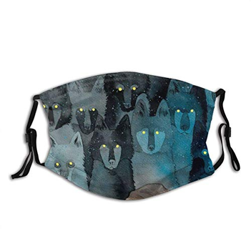 Mundschutz Face Cover The Girl Sleeps in Front of A Pack of Wolves Looking Not at Her Balaclava Unisex Reusable Mouth Cover for Outdoor Face Decorations