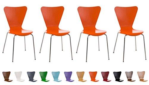 CLP 4X Konferenzstuhl Calisto mit Holzsitz und stabilem Metallgestell I 4X platzsparender Stuhl mit Einer Sitzhöhe von 45 cm Orange