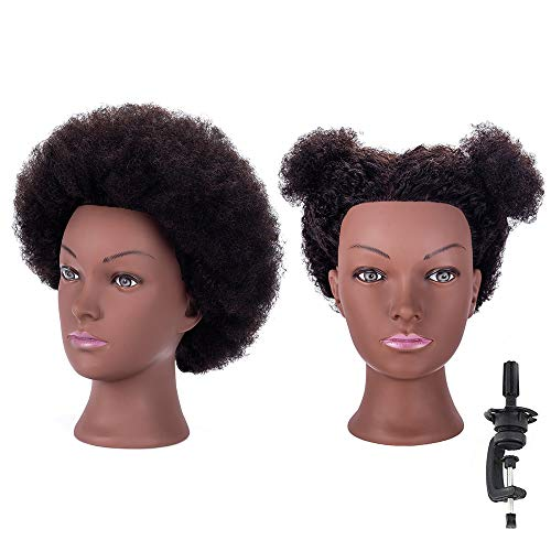 HAIREALM Afro Mannequin Head 100% Human Hair Head Hairdresser African American Training Head Manikin Cosmetology Doll HI28D