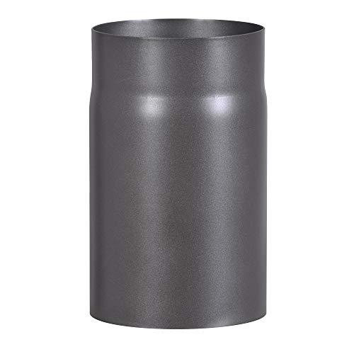 FIREFIX RD150/2 Ofenrohr aus 2 mm starken Stahl (Rauchrohr) in 150 mm Durchmesser, für Kaminöfen und Feuerstellen, Senotherm, dunkelgrau, 250 mm lang, Schwarz
