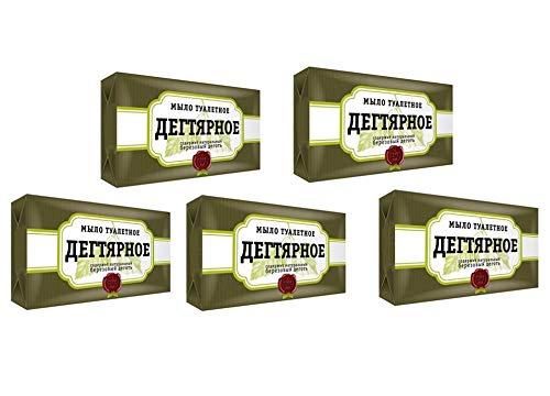 5 Stück (5 x 140g) Teer-Seife (Birkenteer) gegen Dermatitis Akne Birkenseife aus Russland