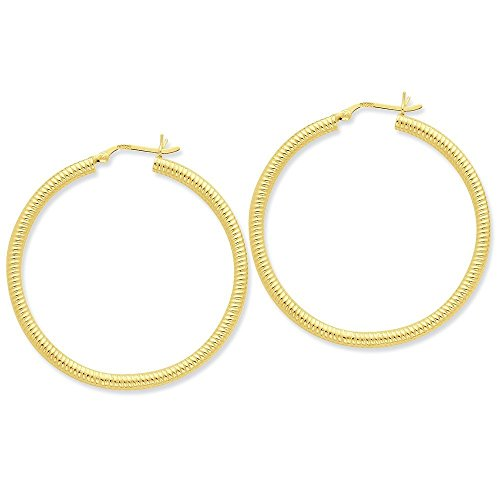 Sterling Silver Gold-flashed Ribbed 45mm Hoop Earrings (1.61 in x 0.14 in)