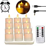 Rechargeable LED Battery Operated Tea Lights, Realistic and Bright Flickering Flameless Tealights with Moving Wick, Remote Control, Pack of 12, USB, Votive Candles for Christmas, Halloween, Gift